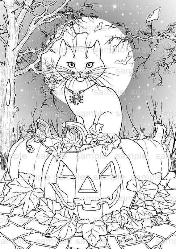 Halloween decor Party activity Adult coloring page