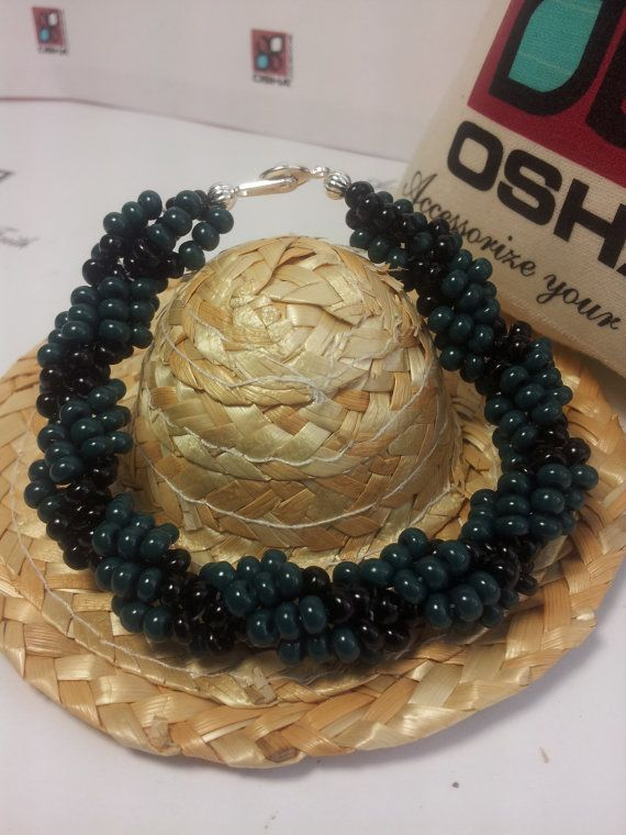 Santeria, Ogun, Idde Santo, Black and Green Beaded Bracelet by OshaDesigns, $20.00