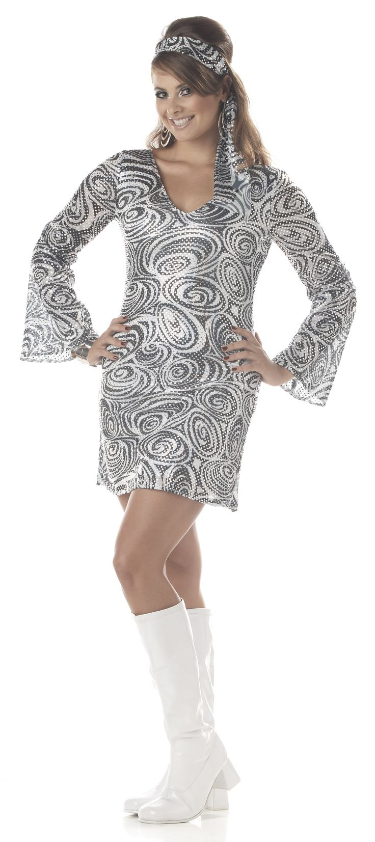 Disco Diva Plus Size Go Go Dress - Go Go in this sassy plus size ladies dress. Recreate the 60s Mod gogo in this plus size dress. This dress has a wonderfully creative swirl black and white pattern to it. Over the fabric is silver sparkly dots giving it a disco ball shine. The sleeves of the dress are flared and the neckline is a v-neck. The dress is about thigh length. #costume #yyc #calgary #retro #1960s #austinpowers #plussize #gogo