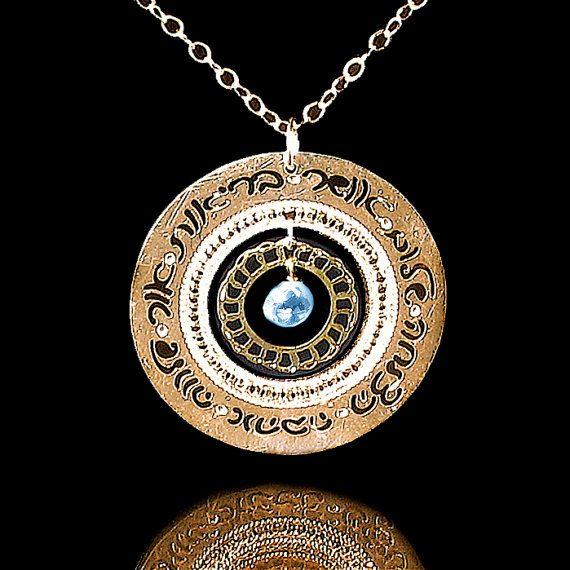 judaica jewelry hebrew jewelry Blue Topaz jewelry by KelkaJewelry, $87.00