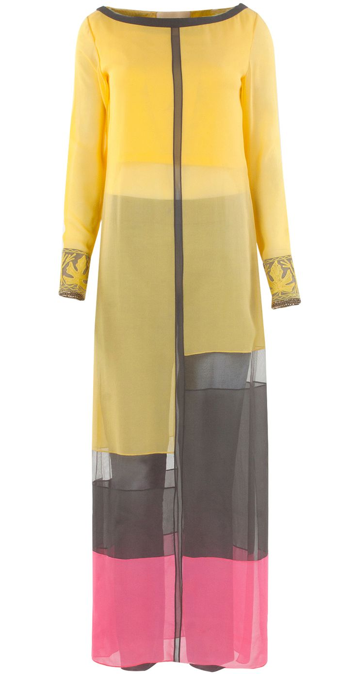 Yellow georgette tunic set by MANISH MALHOTRA. Shop at http://www.perniaspopupshop.com/whats-new/manish-malhotra-28