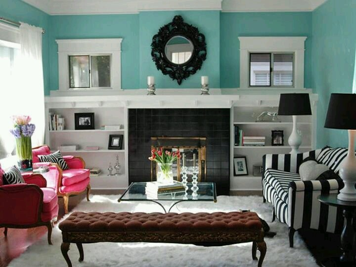 I Absolutely Love The Hot Pink Pink Chairs Paired With The Black And White  Striped Sofa In This Turquoise Living Room Featured In The Spring 2009  Interior ...