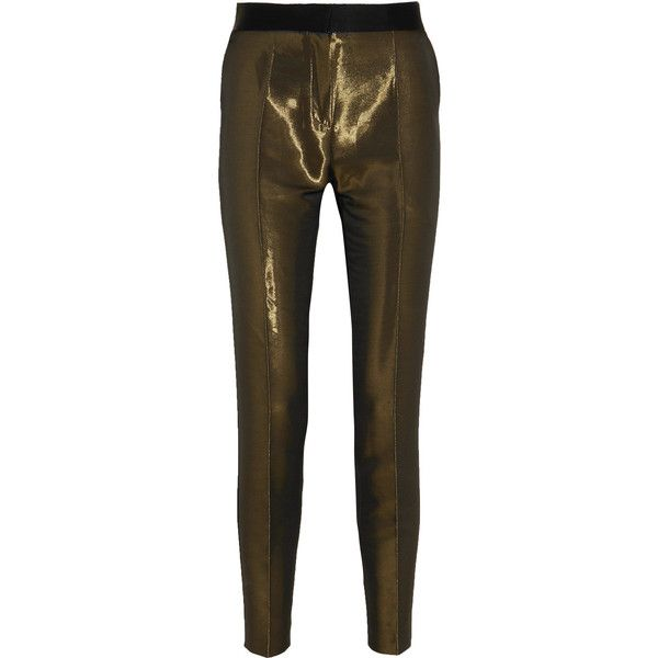 Pallas Metallic crepe skinny tuxedo pants ($1,025) ❤ liked on Polyvore featuring pants, bronze, brown trousers, brown tuxedo, skinny pants, skinny trousers and skinny tuxedo