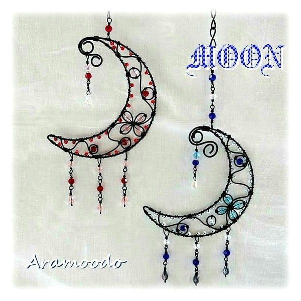❤ ~Moon ornaments~  #wire #wirecraft #craft #crafts #handmade #hangingdecoration  #interior #hangingdecor #moon #hangingdecorations #wireart #ワイヤー #ワイヤークラフト #針金 #ワイヤー雑貨  #針金アート #月 #ワイヤークラフト雑貨  #オーナメント