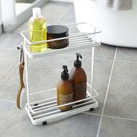 Yamazaki 2-Tier Bath Tower    After Shower Rack: For dry brushing and essential oil rack.