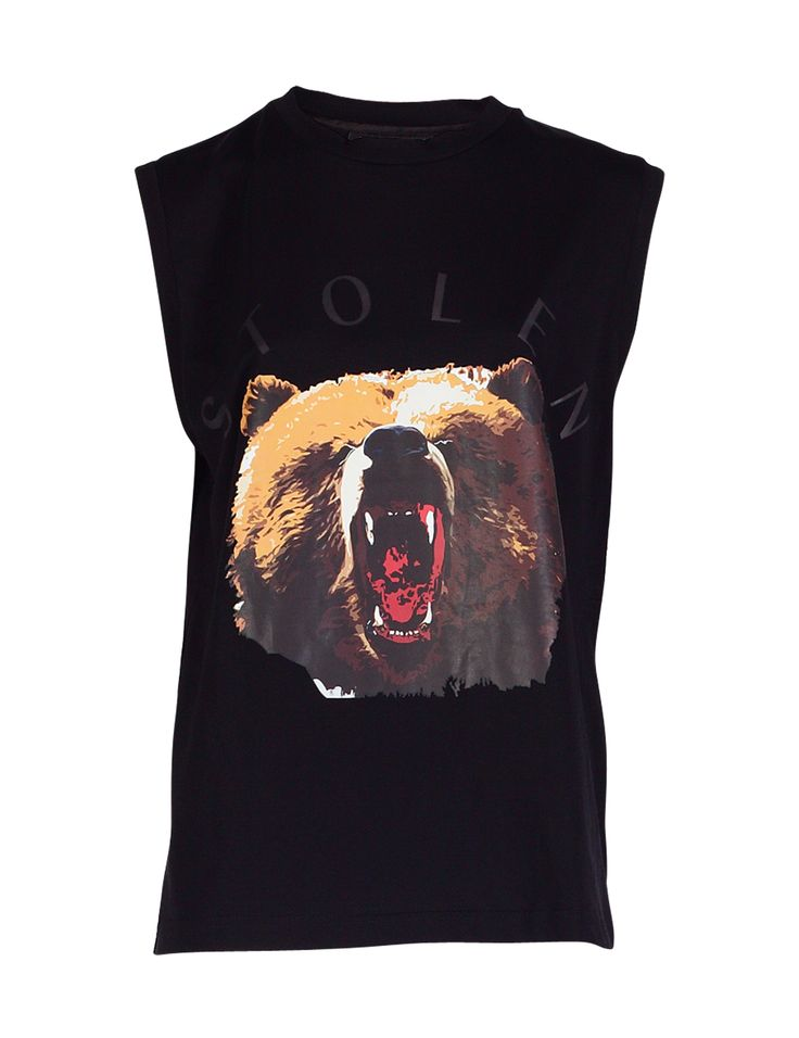 Graphic Printed Bear Muscle Tank / Tee styled it with leather pants, skirt, or jeans. This print made from 100% cotton jersey, sleeveless , with bear printed in front, this comfy muscle tank is a must. http://zocko.it/LDlKB