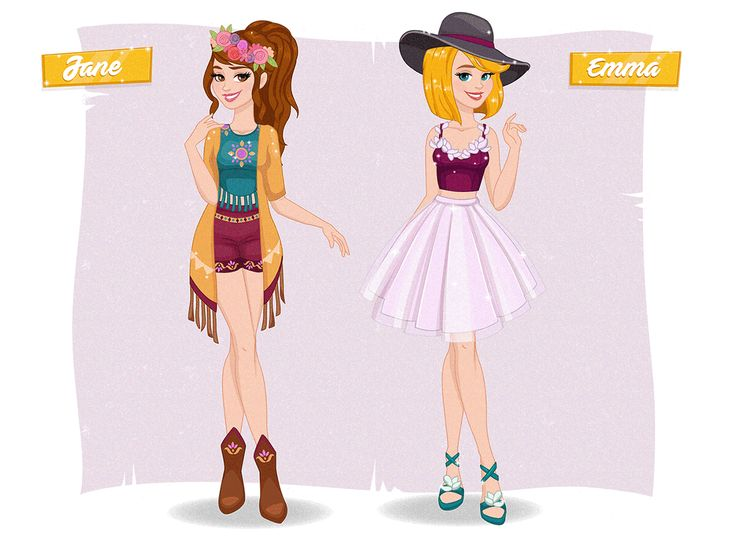 """Characters for """"Glam Girls - Shopping Spree"""" - game art"""