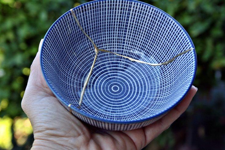 Kintsugi Vintage bowl, cuenco Kintsugi porcelana oriental. Colección Butterfly nº6 de KanelaSuri en Etsy