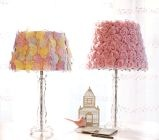 Love the pink rose lampshade. Would look good in my little girl's room.