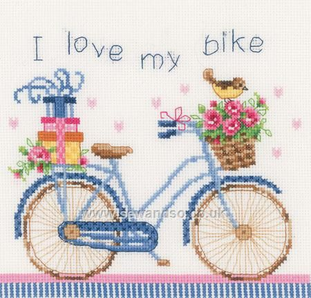 Buy I Love My Bike Cross Stitch Kit online at sewandso.co.uk