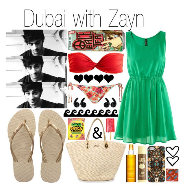 Dubai with Zayn by plnzh on Polyvore featuring mode, H&M, J.Crew, Topshop, Havaianas, DANNIJO, Sun Bum and Clarins