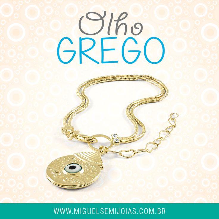 Pulseira roliça com pingente olho grego banhado a ouro