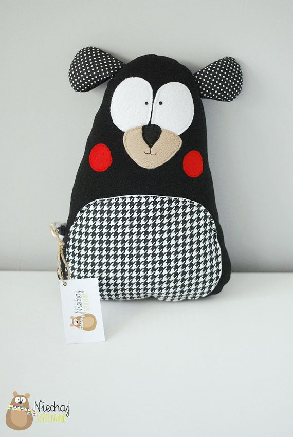 Teddy bear, softie, black and white toy, plushie, black teddy bear, soft plush toy, houndstooth, unique
