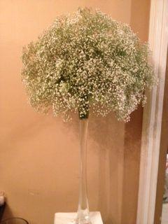 Baby's breath centerpiece :  wedding flowers white Photo6