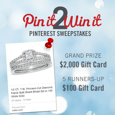 """[ENDS SOON!] Enter to WIN a $2,000 ZALES gift card! Here's how: 1.) Click on this pin & submit your info on the entry page, 2.) Follow Zales Jewelers on Pinterest, 3.) Pin your favorite engagement ring from our """"Engagement Rings"""" board. Good luck, and happy pinning!"""