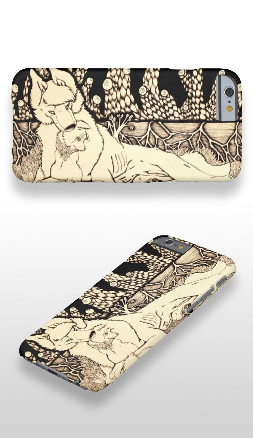 """""""Across the Border"""" Black and white wolf and dog couple illustrated iPhone 6 Case"""