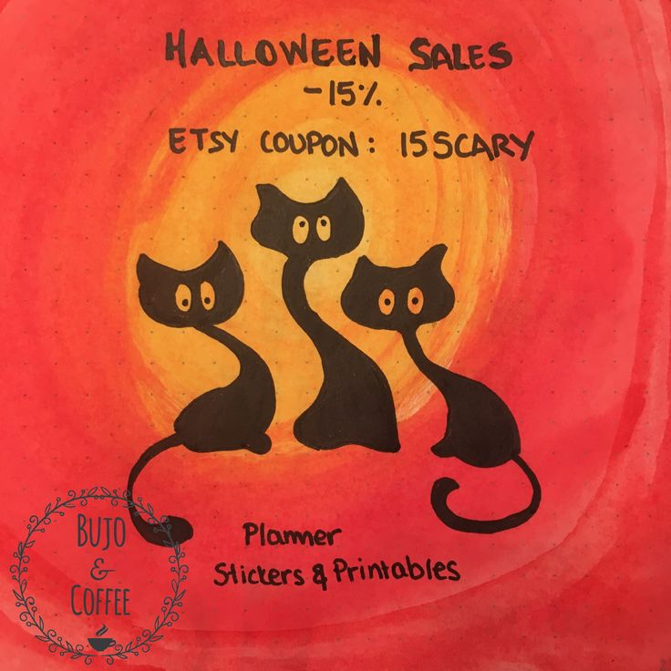 😱*HALLOWEEN SALES*😱 Use Etsy Coupon: 15SCARY for a 15% OFF in my entire ETSY Shop! Buy fun and useful planner printables and stickers and get prepared for 2018!!! Valid only during Halloween!!! #bulletjournal #bulletjournaling #bujostickers #bujoprintable #halloween #halloweensales #etsysales http://bit.ly/Bujo15scary