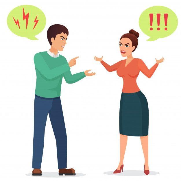Cartoon Man And Woman Quarreling Angry Couple Quarrel Illustration Cartoon Man Drawing Cartoon Characters Cartoon