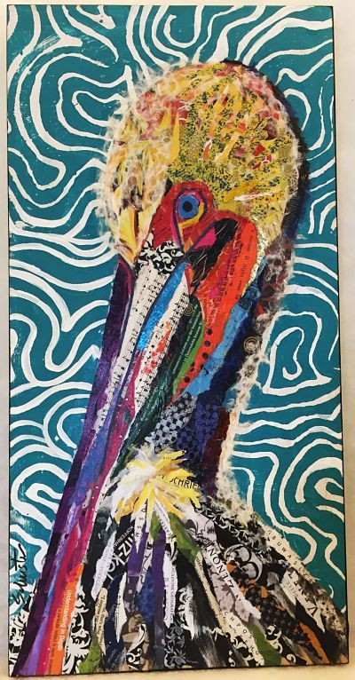 Pelican torn paper collage