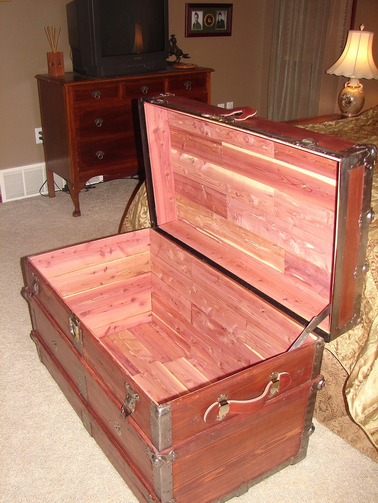 Old trunk I refinished and lined it with closet cedar planks!