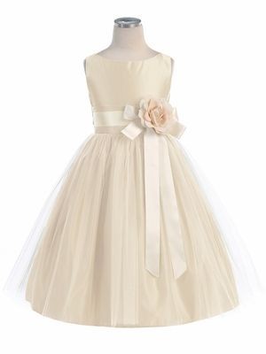 This is precious! Available in many colors....Champagne Vintage Satin Tulle Dress