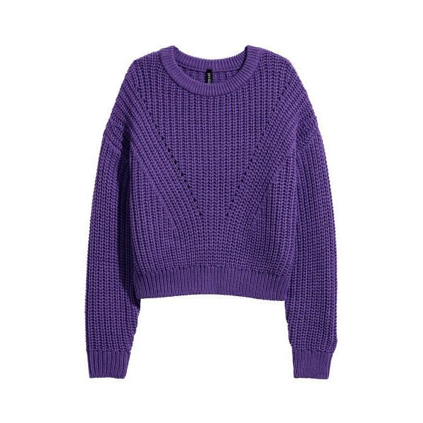 Rib-knit Sweater $24.99 (445 EGP) ❤ liked on Polyvore featuring tops, sweaters, long sleeve sweater, purple jumper, rib knit top, drop shoulder sweater and jumpers sweaters