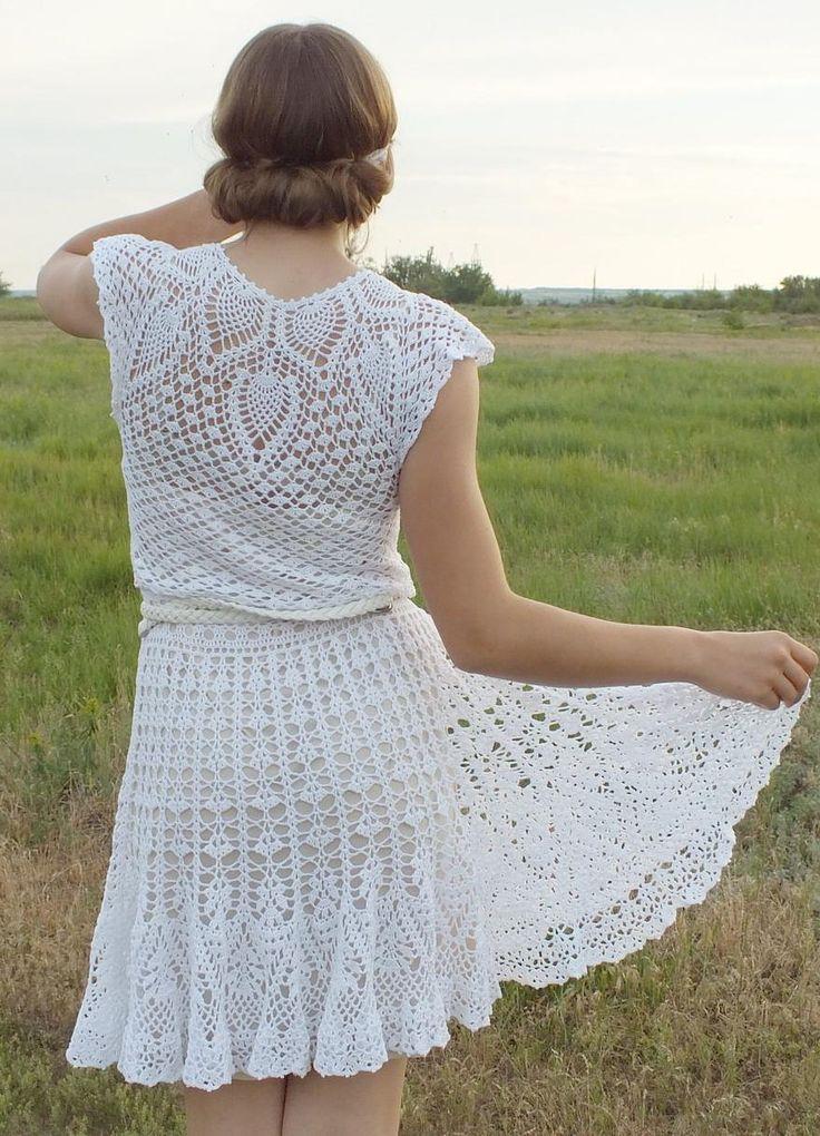 white crochet dress by Vera Shevchenko on Etsy