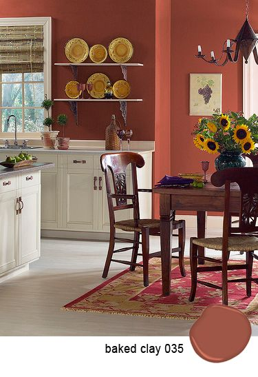 Paint color for dining room~Benjamin Moore/Baked Clay~Love it! Such a soft and soothing color.