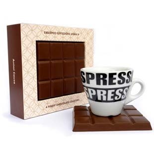 Chocolate Coasters - Our product, Chocolate Coasters, will engage your senses. Only to see the chocolates causes certain endocrine glands to secrete hormones that affect your feelings and behavior by making you happy. It's a fantastic gift.$15.90