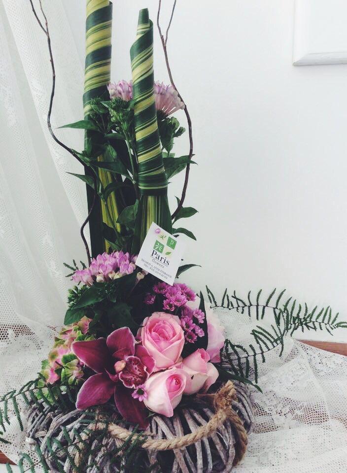 Τριαντάφυλλο ορχιδέα cibidium και ορτανσια σε μια πιο ιδιαίτερη σύνθεση