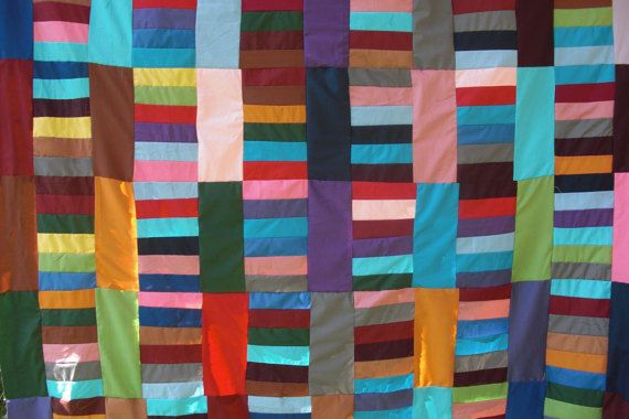 Patchwork cover handmade multicolor fabric quilt double by Aliki01