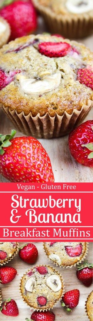 Strawberry Banana Breakfast Muffins - No refined sugar & they're vegan & gluten-free | Vegan Hugs
