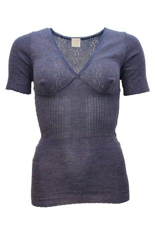 Lace T-Top Pure merino Silk Violet Blue