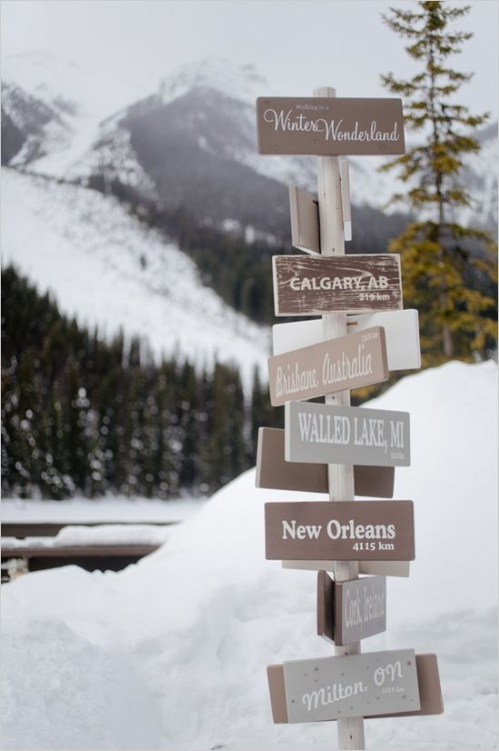 winter wonderland sign - this would be a nice way to honor your out of town guests!