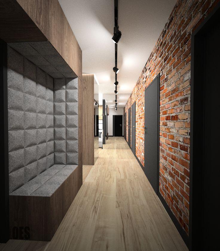 #brickwall #mirrorinhall, upholstered modern seat cegła w salonie, lustro optycznie powiększające przestrzeń, czarne drzwi, tapicerowane siedzisko