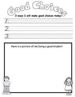 a nice reflection log or goal sheet. it could be apart of a behavior intervention plan