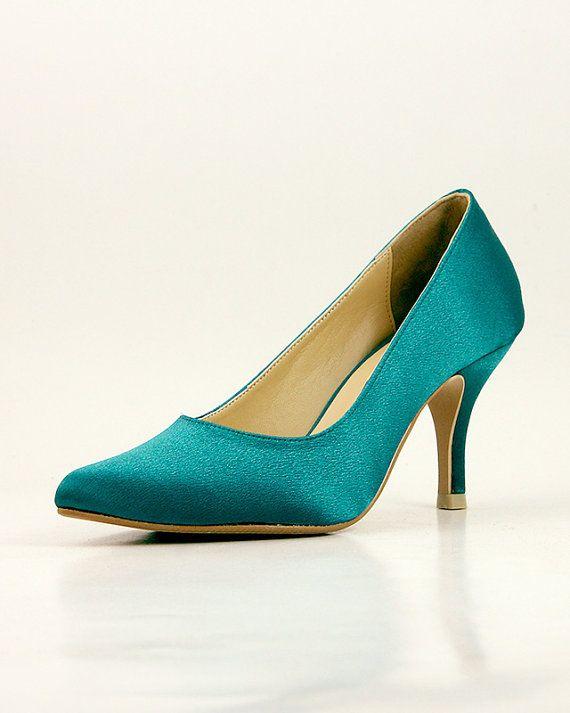 Chaussures de mariage Teal mariage vert foncé par ammiejoyce