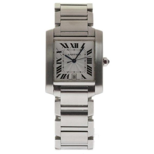 Pre-owned Cartier Tank Francaise W51002Q3 Stainless Steel Silver Dial... (17.950 DKK) ❤ liked on Polyvore featuring jewelry, watches, unisex jewelry, silver dial watches, stainless steel jewelry, preowned jewelry and cartier watches