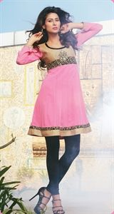 Show details for Bubblegum Pink and Gold Kurti