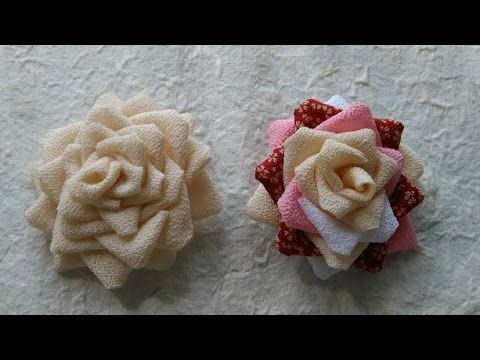 D.I.Y: Tsumami Kanzashiつまみ細工 -Big rose clip in CHIRIMEN,kimono fabric-Tu...