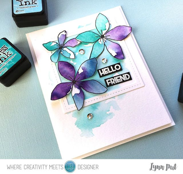 The Queen's Scene: Hello Friend - Watercolors: Ranger tumbled glass, wilted violet, chipped sapphire and peacock feathers distress inks, 9th and Concord stamp set Wildflower along with the stamp set Flourish for sentiment.