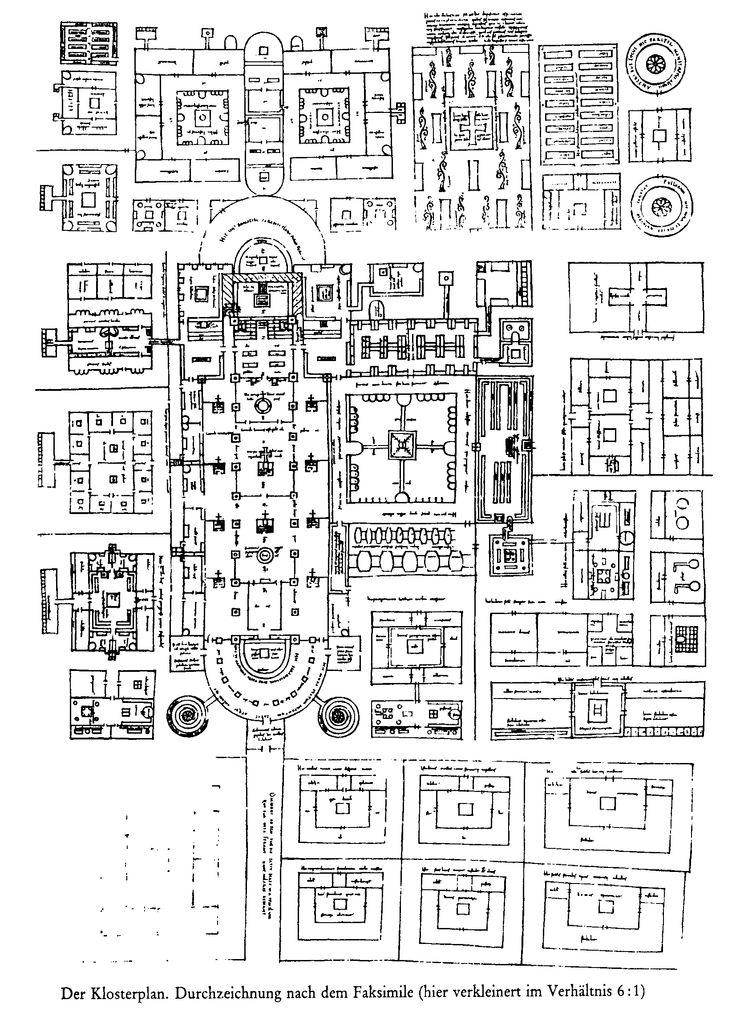 Grondplan van het klooster in Sankt Gallen ~ ca. 820 ~ Stiftsbibliothek, Sankt Gallen