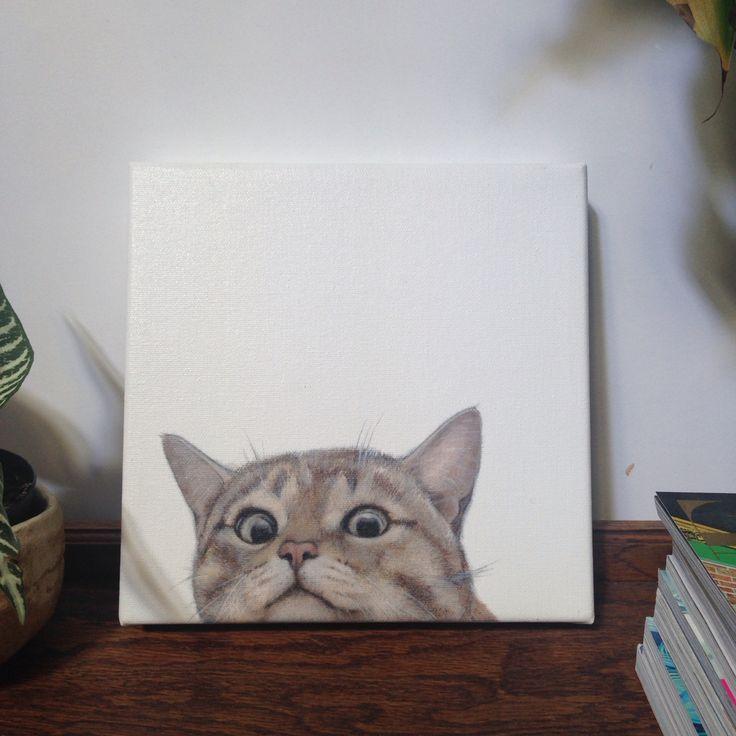 Cat Portrait by Charles Hannah - Oil on Canvas Art.