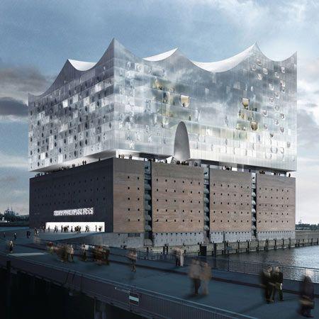Herzog & de Meuron's philharmonic hall on the river Elbe in Hamburg