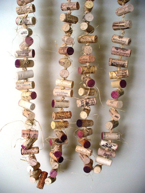 Rustic Wedding Cork Garland Eco Friendly Decor by kzannoart    Thinking corks could be a neat alternative to a beaded door curtain.