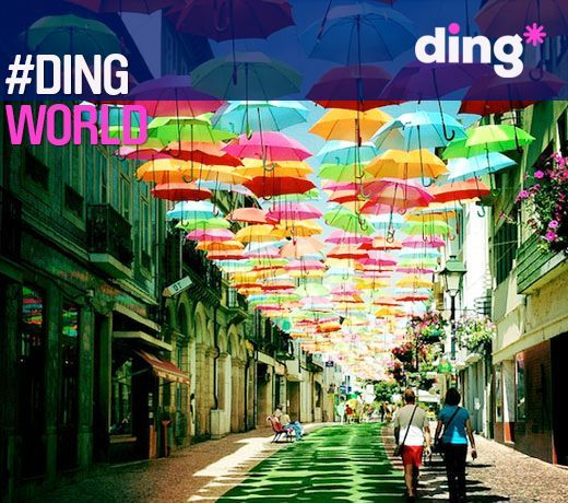 Umbrellas in the sky! Can you guess the country where you will see this beautiful spectacle? #dingworld This is the beautiful Agueda, Portugal