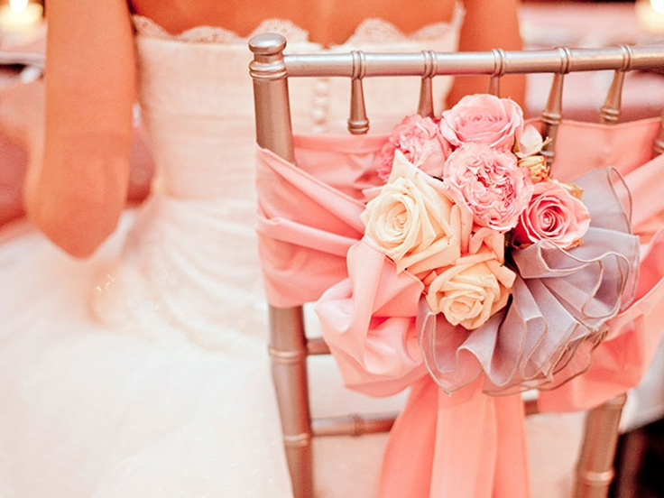Pink Chair Wrap And Mini Bouquet For The Bridal
