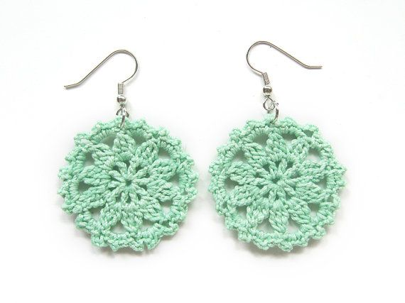 Mint Pastel Light Spring Green Lace Doily Earrings : round cotton crochet handmade : spring fashion easter cottage romantic gift for her : by CyanAndSepiaHome, $10.00