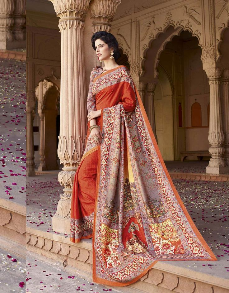 Orange Art Silk Printed Saree With Blouse 69698