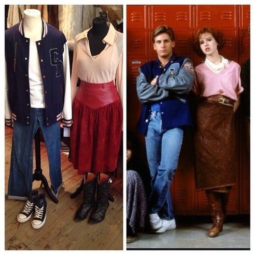 The Athlete and the Princess • letterman jacket with leather arms - size M - £45 • levi jeans - size small - £15 • leather and suede skirt - size UK 8 - £24 • pink blouse - size UK 10 - £12 #mollyringwald #breakfastclub #thebreakfastclub #princess #athlete #80sicob #80s #80smovie #emilioestevez #andrewclark #clairestandish #jock #letterman #fashion #costume #twitter #instagram #johnhughes #teenager